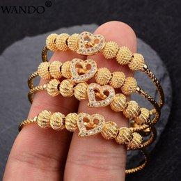 Wando 4pcs lot Baby Bangles Gold Color Ethiopian Kids Exquisite Bracelet Bangle Trendy African Arab Ramadan children's Jewelry