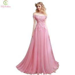 2017 SSYFashion New Sweet Pink Lace Embroidery Evening Dress The Bride Slim  Sexy Sweep Train Long Prom Dress Custom Party Gown C18122201 69d97ce9e604