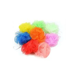 Toptan satış Çok Renkler 20g Banyo Duş Sünger Puf Lif Kabağı Naylon Örgü Fırça Duş Topu, Örgü Banyo ve Duş Sünger ELBA006
