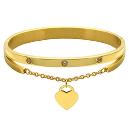 Love braceLet online shopping - Brand Jewelry Pulseira Rose Gold Stainless Steel Bracelets Designer Bangles Female Heart Forever Love Bracelet For Women