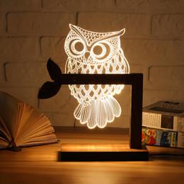 $enCountryForm.capitalKeyWord Australia - Wooden USB 3D LED Animal Butterfly OWL Night Light Warm Lighting Table Reading Lamps Bedroom Home Decor Birthday Gift