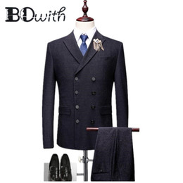 Discount double collar jackets for men Double Breasted Wedding Men Suit Black Peaked Collar Slim Fit 3 Pieces Jacket+Pants+Vest For Wedding Groom Tuxedos Forma