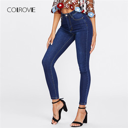 Fly Blue Australia - Colrovie Blue Dark Wash Skinny Denim Jeans Women 2019 Spring High Waist Button Fly Casual Jeans Female Solid Long Pencil Pants J190515