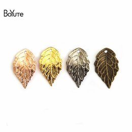 Leaf Coin Australia - floating charms BoYuTe 200Pcs 7 Colors 10*18MM Filigree Leaf Charm Pendants DIY Brass Floating Charms for Jewelry Making