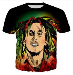 Wholesale t shirt bob marley online – design New Fashion Mens Womans Bob Marley Hipster Summer Style Tees D Print Casual T Shirt Tops Plus Size CH0279