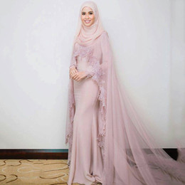 muslim bridal evening gowns 2019 - Modern Dusty Pink Muslim Evening Dresses Long Sleeves With Cape Muslims Women Bridal Formal Gowns Appliques Party Dresse