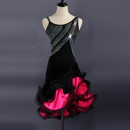 27c1612c3d78 Professional Latin Dance Dress Performance Costumes Sexy Sleeveless  Diamonds Fishbone Dresses Adult Latin Ballroom Competition Dance Clothes