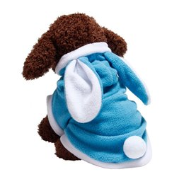 Abbigliamento cappotto con cappuccio per cani in pile del cucciolo del gatto Easter Bunny Costume Pet Dog Clothes coniglio Warm Travestirsi Outfit complesso