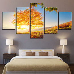 golden tree painting Australia - HD Canvas Art Painting For Living Room Wall Decor 5 Pieces Daylight Tree Golden Yellow Picture