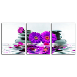 purple canvas art prints UK - 3 Piece Canvas Wall Art Purple Chrysanthemum Flower Picture Print on Canvas for Bedroom Home Living Room Decor Modern Artworks Framed Gift