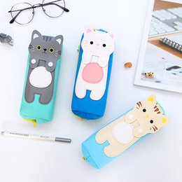 Korean School Stationery Australia - Korean Kawaii Cartoon Cat Pencil Bags Creative Cartoon Canvas Pen Case for Girl Gift Student Office Stationery School Supplies