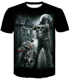 Cheap Casual Clothing online shopping - Discount Cheap round neck D digital skull print t shirt men s short sleeve Casual loose printed men s clothing apparel Sport Outdoor