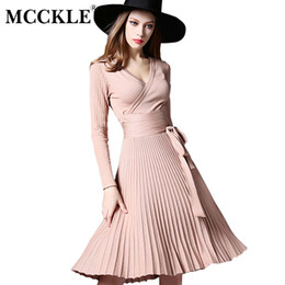 Clothing Dropshipping Australia - Women Knitted Pleated V-neck Midi Dress High Waist Bowtie Lace Up Vintage Woman's Dresses 2019 Spring New Clothes Dropshipping Y19012201