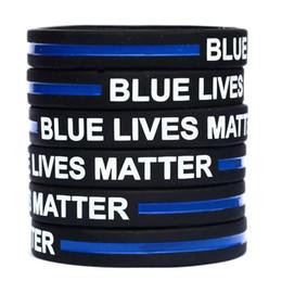 $enCountryForm.capitalKeyWord UK - Blue Lives Matter Silicone Wristband Bracelet Soft Flexible No Gender Bangle Decoration Bracelets Party Favor 600pcs OOA6769