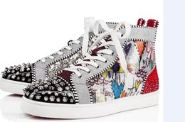d14af80f7c3 Appliques Strass UK - Christian Louboutin CL2019 luxury brand Newbo Strass men s  flat-bottomed sneakers
