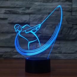 Discount swing wedding - Bedroom Office Decor 3D Acrylic Golf Swing Modelling Desk Lamp Led Night Light 7 Color Change Lighting Fixture Sports Fa