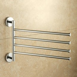 rack rails NZ - Stainless Steel Wall Mount Rotary Towel Rack Bathroom Towels Rail With Hook New 2019