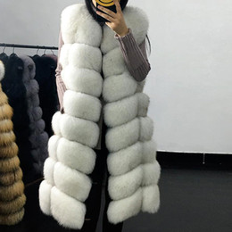 plus size faux fox vest Australia - Faux Fur Coat Autumn Winter Women 2019 Fashion Casual Warm Slim Sleeveless Long Faux Fox Fur Jacket Women Vest Plus Size Y190919