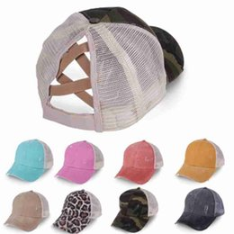 Ponytail Baseball Caps Washed Cotton Messy Buns Hats Summer Trucker Pony Cap Unisex Visor Cap Hat Outdoor Snapbacks ZZA2393 50Pcs on Sale