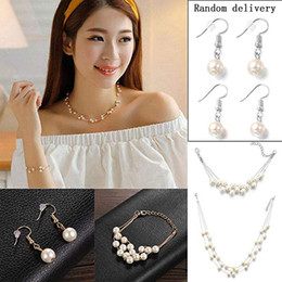 silver costume necklaces Australia - Women Faux Pearls Necklace Bracelet Earrings Set Costume Wedding Christmas Party Jewelry Silver Gold 2 Colors 1 set