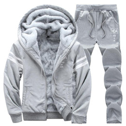 épaissir les vêtements de sport achat en gros de-news_sitemap_homeLes hommes causales Survêtements Ensemble à capuchon Thicken Sweats à capuche en molleton Sweatpant Hiver Printemps Sweat sport Lettre Homme Imprimer