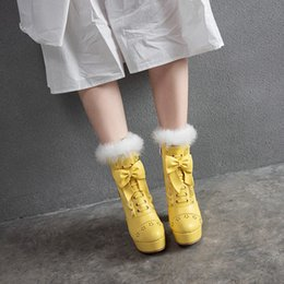 Discount white lolita shoes - YMECHIC 2019 Winter Platform High Heels Ruffles Lolita Shoes Fur Tassel Fashion Bowtie Ladies Ankle Boots Yellow Green