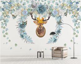 Drawing paper art online shopping - 3d room wallpaper custom photo mural Nordic hand drawn flower elk background wall paper mural wall art canvas wallpaper for walls d