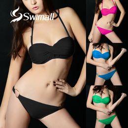 $enCountryForm.capitalKeyWord Australia - Push Up Bikini 2019 Sexy Solid Women Swimwear Swimsuit Bandeau Halter female bikini set Biquini Bathing Suit swim wear Brazilian