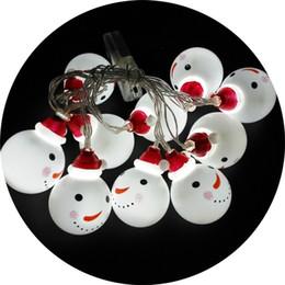 Batería LED Muñecos de nieve Bombilla de luz Coloreada Lámparas de plástico Cadena Decoración de la fiesta de Navidad Blanco cálido Festival Suministros para el hogar 9tl hh