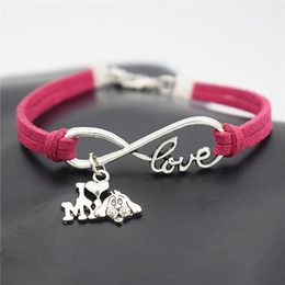 $enCountryForm.capitalKeyWord NZ - Hand-Knitted Special Red Leather Rope Infinity Love I Heart My Dog Cuff Charm Bracelet & Bangles Fashion Women Men Silver Alloy Wish Jewelry