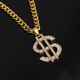 halloween tin signs wholesale NZ - Pendant Necklaces European and American popular hot hip-hop HIPHOP exaggeration dollar diamond necklace pendant jewelry dollar sign