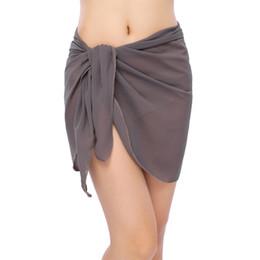 e040dbe4bd176 Sexy Swimwear Women Beach Skirt Double Layers Ruffle Chiffon Cover Up  Bikini Wrap Beach Sarong Bathing Suit