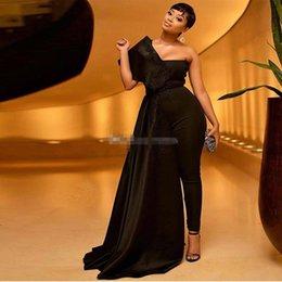 Une Epaule Noir Combinaison Robes De Soirée En Dentelle Applique Paillettes Longueur De Cheville Outfit Robe De Bal Satin Plus La Taille Vêtements De Soirée