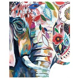 Oil paint numbers kits online shopping - Anti Stress Paint by Numbers Kit Colorful Elephant Framed Unframed Digital Canvas Painting Diy for Adults Beginner Kids