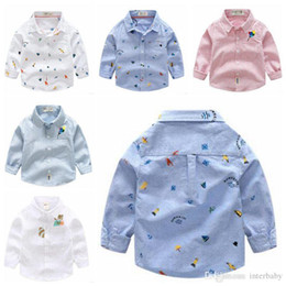 kids cartoons t shirts wholesale Australia - Baby Kids Clothes Boys Printed Cartoon Shirts Boys Striped Blouse Fashion Long Sleeve T Shirts Kids Cotton Tops Designer Lapel Tees C5090