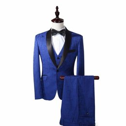shawl collar tuxedos Canada - Men Suits Blue Three-piece Suit Shawl Collar Custom Europe and the Cathedral and the Groom Dress Wedding Host Formal Business Singer Tuxedos