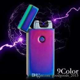 electronic fire lighter NZ - Double fire cross twin arc pulse Electronic Cigarette lighter electric arc gold colorful charge usb lighters smoker sexy ice man b238