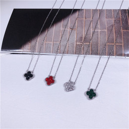 Clover Chain Wholesale Australia - Fashion Women Double Color Clover Silver Necklace Real 925 Sterling Silver Clover Necklace 18K White Gold Chain Locket Necklace Jewelry