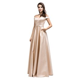 Discount golden maxi dress - Elegant Sexy A Line Light Golden Evening Dresses Backless Formal Prom Party Gowns Cheap Maxi Dress Off Shoulder with Pac