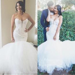 $enCountryForm.capitalKeyWord Australia - Luxury Country Lace Mermaid Wedding Dresses 2019 Elegant Sweetheart Appliques Puffy Tulle Plus Size Bridal Wedding Gowns Bridal Dress