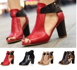 Discount america sandal - 2019 Spring summer new women's shoes large size hot sale Europe and America sexy fish mouth high heel fashion sanda