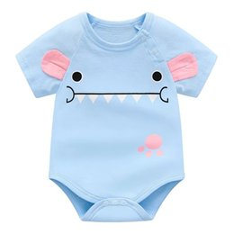 cheap shorts half shirts NZ - 2018 summer baby girl bodysuit blue cotton clothes for new born baby clothing high quality infant costume cheap newborn clothes