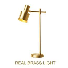 $enCountryForm.capitalKeyWord Australia - European American reading LED table lamp light modern brass copper Nordic bedroom bedside LED table light golden desk light lamp