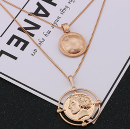 China designer jewelry coin pendant necklace double layers sweater necklace portrait pendant for women for women hot fashion supplier double layer necklaces suppliers