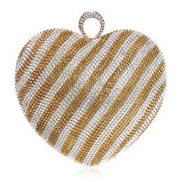 Ladies Rhinestone Handbags Australia - Famous Women Heart Shape Shoulder Bags Female Rhinestone Messenger Bag High Quality Metal Chain Ladies Small Handbag Evening Bag
