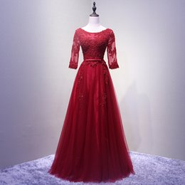 vestido festa longo long evening dress 2019 - Wine Red Round Neck Tulle Lace Long Evening Dresses Pearls Beading Half Sleeve Vestido De Festa Longo Formal Wedding Par