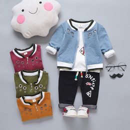 Cute Outfits For Spring Australia - New Clothing Sets For Boy Outfit Suit 2019 Letter Spring Baby Boys Set Autumn Coat + Pants + T-Shirt 3PCS 1 2 3 4 Years
