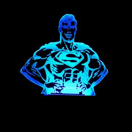 remote power supply switch Australia - Pattern Superman Colorful 3d Small Night-light Usb Power Supply Touch Switch Colorful Led Lamp Gradual Change Color Remote Control 3d Lamp