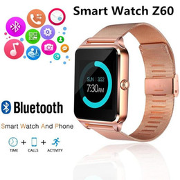 $enCountryForm.capitalKeyWord NZ - Z60 stainless steel wristband Bluetooth smart watch mobile phone support SIM card TF card camera fitness tracker smart watch for Samsung