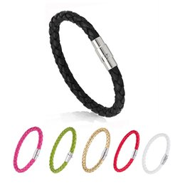 Wholesale Braided Men Leather Bracelet Simple Button Neutral Accessories Hand woven Bangles for woman Jewelry Gifts